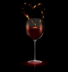 heart in a glass of red wine vector image