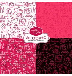 Wedding seamless patterns in thin line style vector image