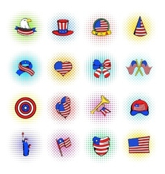 Independence day icons comics style vector