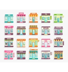 Different stores and shops icons set boutique vector