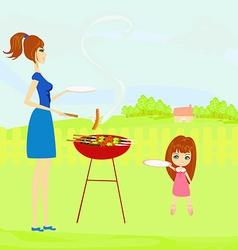 A family having a picnic in a park vector