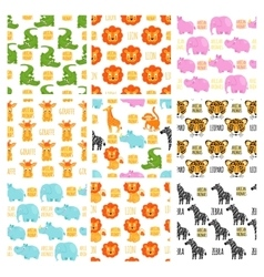 African animals set seamless pattern vector image