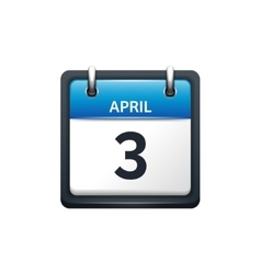 April 3 calendar icon flat vector