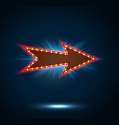Arrow sign with light bulbs on blue background vector