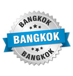 Bangkok round silver badge with blue ribbon vector