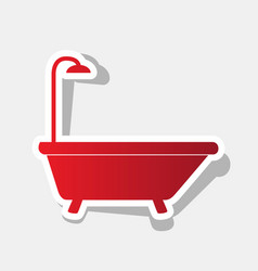 bathtub sign new year reddish icon with vector image vector image