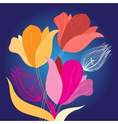 beautiful bouquet of tulips vector image