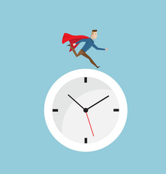 businessman with red cape running on clock vector image vector image
