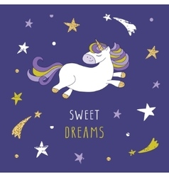 Cartoon unicorn on the night sky with glitter vector