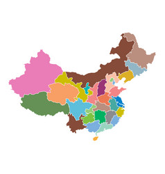 China map with province region flat on white vector