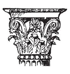 Corinthian capital value vintage engraving vector