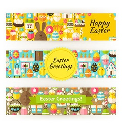 Easter greetings template banners set in modern vector