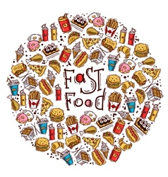 Fast Food Circle vector image vector image