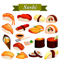 Full collection of different variety of sushi roll vector