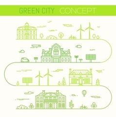 Green city eco infographic ilinear style vector image vector image