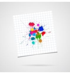 Ink Color Blots on sheet of paper over vector image