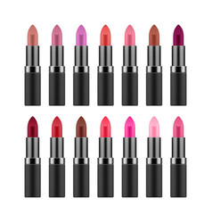 Lipstick collection in different colors vector