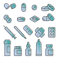 Medical modern icon set variable line vector image
