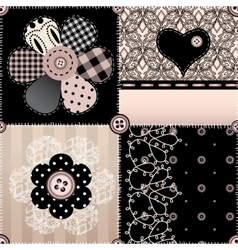Patchwork witn lace vector image