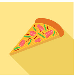 Pizza with peppers and bacon icon flat style vector