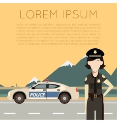 Police on the road banner7 vector image vector image