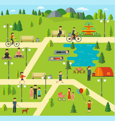 Public park camping in the park vector