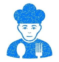 Sad cook grainy texture icon vector
