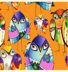 seamless colorful decorative birds vector image vector image