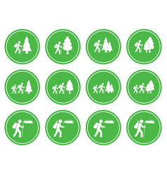 set of hiking icon isolated vector image vector image