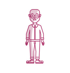 Silhouette man with beard glasses and casual vector