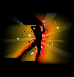 Silhouetted dancing young woman vector