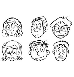 six faces of human emotions vector image