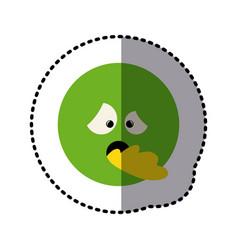 Sticker colorful emoticon sick face expression vector