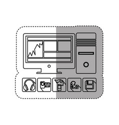 Sticker silhouette desktop computer with icon apps vector