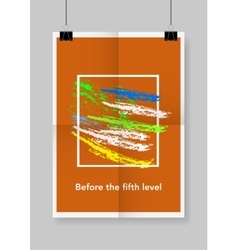 Twice a folded orange poster with clamps vector