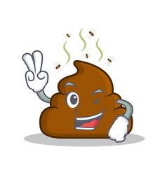 Two finger poop emoticon character cartoon vector