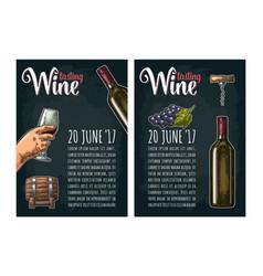 Vertical poster wine tasting lettering bottle vector