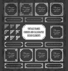 vintage frames and corners on chalkboard vector image vector image