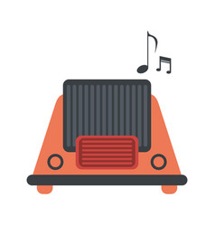 Vintage radio playing music icon image vector
