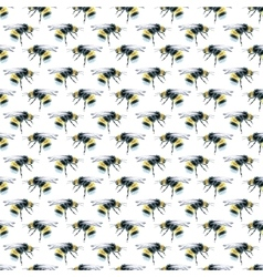 Watercolor Bumblebees seamless pattern vector image