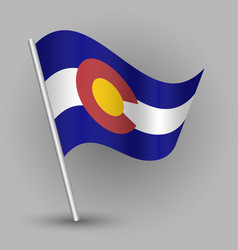 waving triangle american state flag colorado vector image