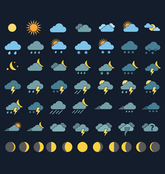 weather icons and signs vector image vector image