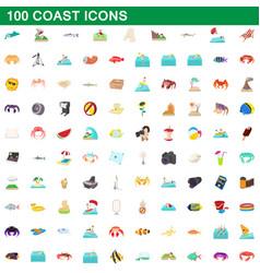 100 coast icons set cartoon style vector image