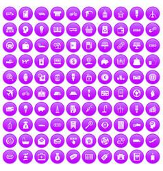 100 economy icons set purple vector