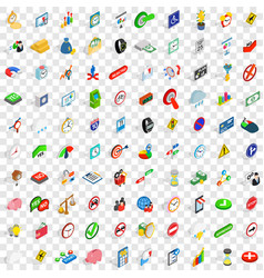 100 indicator icons set isometric 3d style vector