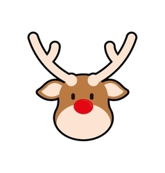 Reindeer merry christmas icon vector
