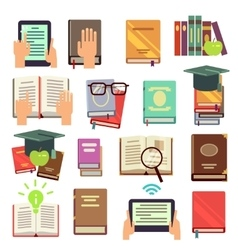 Library books reading flat icons vector