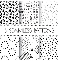 Black and white hand drawn endless background set vector