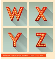 Vintage light bulb sign letters w x y z vector