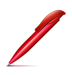 Red plastic pen isolated on white vector